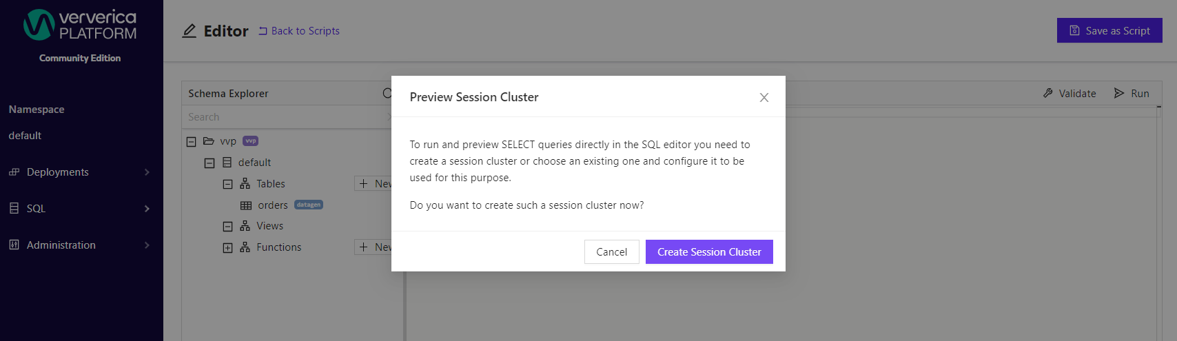 No Preview Session Cluster